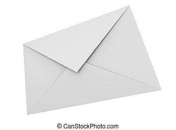 White envelope - 3D rendered image.
