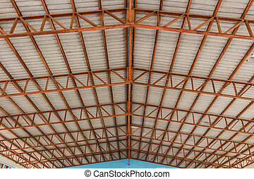 The roof structure workshop stock photo