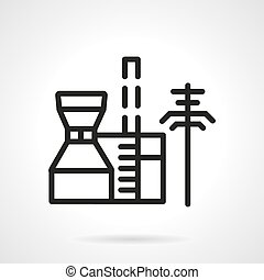Petrochemical plant black line vector icon - Black simple...