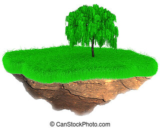 Little flying grass island with a tree - 3D Little flying...