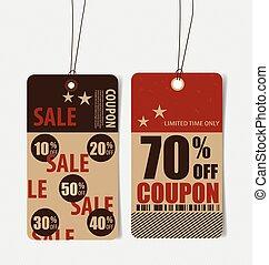 Sale Coupon, voucher, tag.
