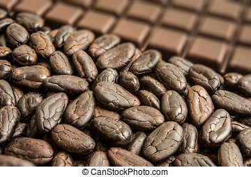 Cocoa beans from Madagascar with chocolate