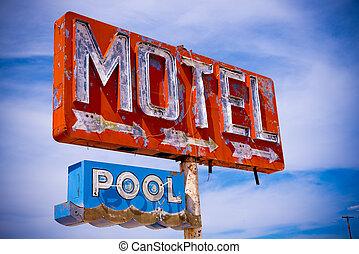Old Vintage Motel Sign - An old direpit, flaking neon motel...