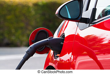 Electric Car Charging - An electric vehichle, car charging...