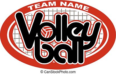 volleyball design - team volleyball design with net and ball