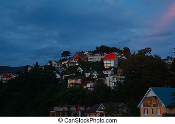 Beautiful houses on mountain at night - Beautiful houses on...
