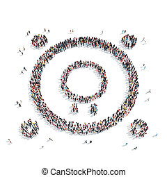 people shape abstract symbol - A group of people in the...