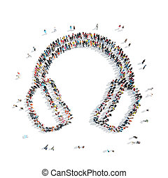 people group headphones cartoon - A group of people in the...