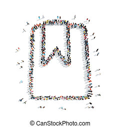 people group tag cartoon - A group of people in the shape of...