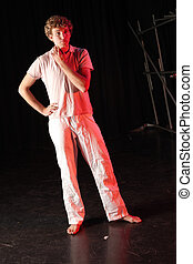 Dancer on stage - Single Caucasian male dancer standing on...