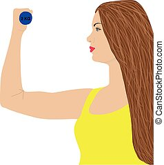 Portrait of young cute woman in fitness wear exercising with dumbbells