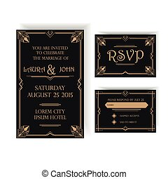 Wedding Invitation and RSVP Card - Art Deco Vintage Style