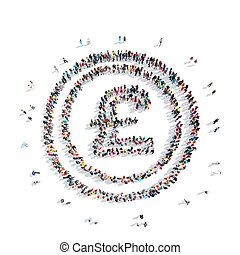 people sign GBP money - A group of people in the shape of a...