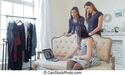 Girls shopaholics to shop online. Girlfriends choose new...