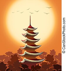 Pagoda at Sunset - Eastern landscape with Pagoda in...