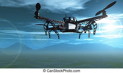 3D drone flying in the sky - 3D render of a drone flying in...