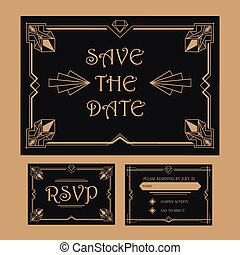 Wedding Save The Date and RSVP Card - Art Deco Vintage Style...