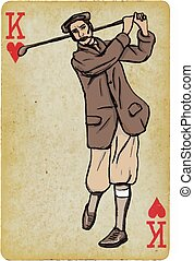 Playing Card, King - Vintage Golfer, an Man. Freehand...