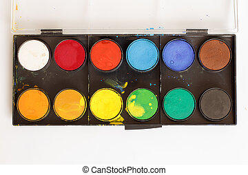 Box of paints - Closeup of water-color paint-box