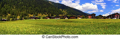 Biel chalets in summer, Berne canton, Switzerland - Biel...