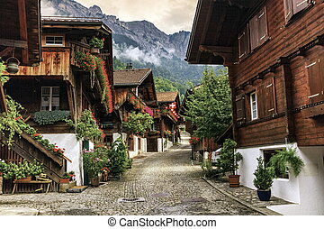 Brienz village, Berne canton, Switzerland - Street in Brienz...
