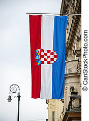 Croatian flag hanging on building