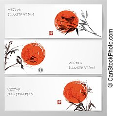 Banners with bamboo, orchid and bird - Banners with red sun,...