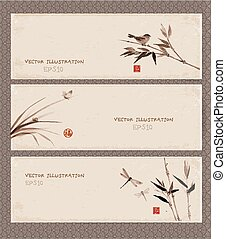 Set of banners in Japanese style - Set of banners with bird...