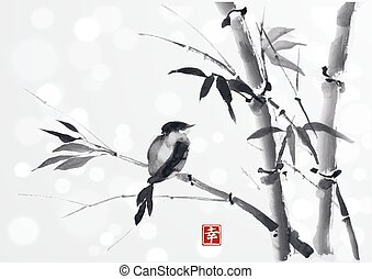 Card with bamboo and bird on white background in sumi-e...