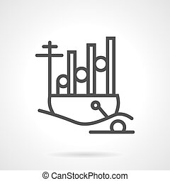 Navy ship simple line vector icon - Simple flat line vector...