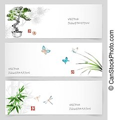 Banners in Japanese style sumie - Banners with bonsai tree,...