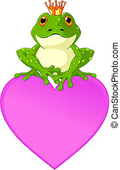 Heart Frog - Frog Prince waiting to be kissed, sitting on...