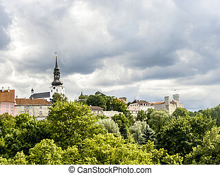 Scenic summer aerial panorama of the Old Town in Tallinn,...