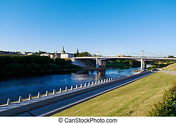 Dnipro River and the bridge View of Smolensk Russia