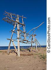 Wooden installation White Sea Russia, Arkhangelsk region
