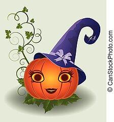 Cute halloween pumpkin, vector