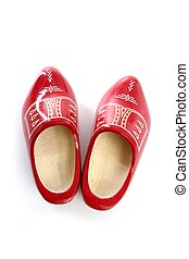 Dutch Holland red wooden shoes isolated on white studio...