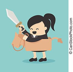 Business woman riding the toy horse have sword