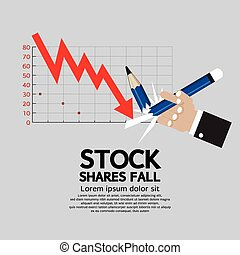 Stock Shares Fall. - Stock Shares Fall Vector Illustration.