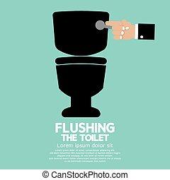 Flushing The Toilet. - Flushing The Toilet Vector...