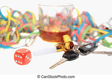 chancing whiskey and car keys - dice and whiskey glass with...