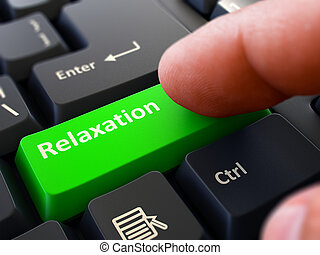 Relaxation - Written on Green Keyboard Key Male Hand Presses...
