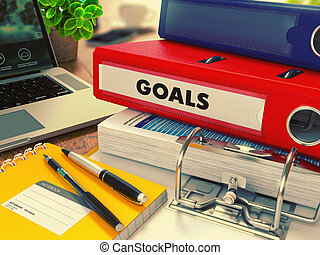 Red Office Folder with Inscription Goals - Red Office Folder...