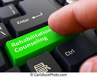 Rehabilitation Counseling Concept. Person Click Keyboard Button.