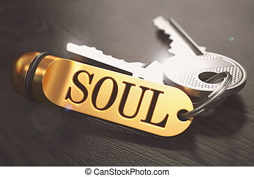 Soul written on Golden Keyring - Keys and Golden Keyring...