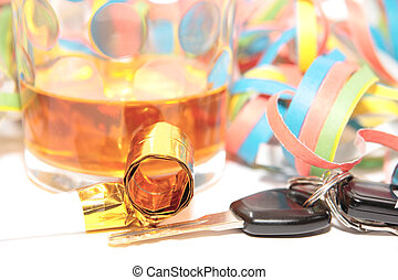 liquor and car keys - whiskey glass with car keys on white...