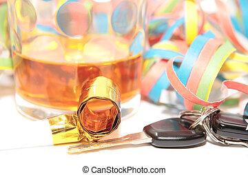 llaves, coche, licor