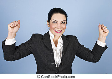Happy woman :I won! - Happy woman with arms raised winning...