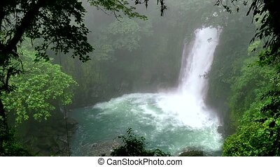 Waterfall Lagoon Rainforest Jungle - Rio Celeste (Blue...