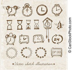 Set of doodle sketch watches.